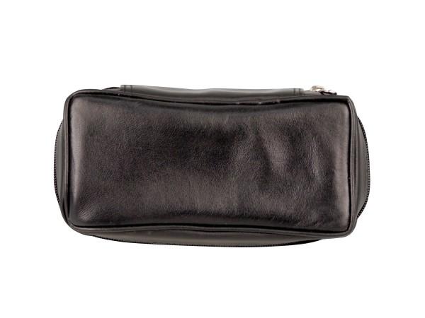 Pfeifentasche Leder schwarz 2er