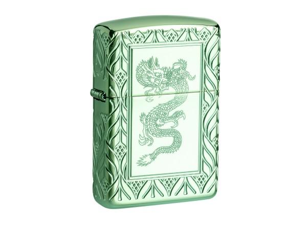 "Org.ZIPPO green polished Armor Case ""Dragon"" 60004950"
