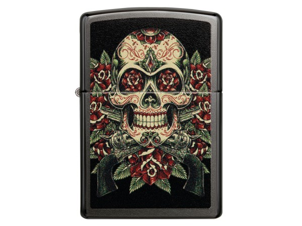 """Org.ZIPPO Grey Dusk color """"Skull and Roses"""" 60004789"""