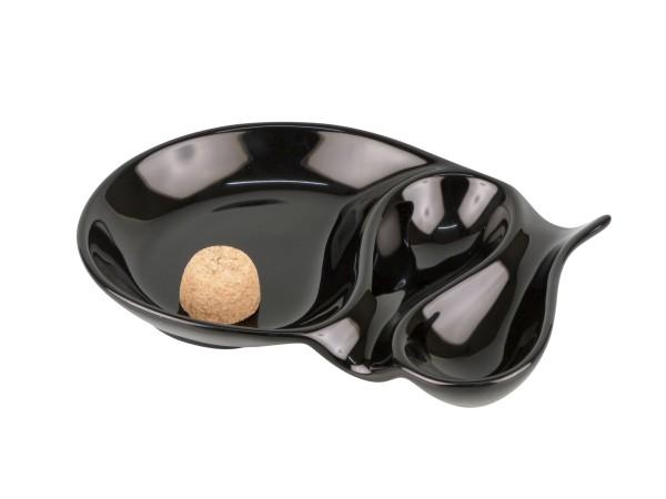 Pfeifenascher oval schwarz glänzend 2 Ablagen
