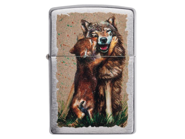 """Org.ZIPPO street cr. color """"Wolf and Pup"""" 60004850"""