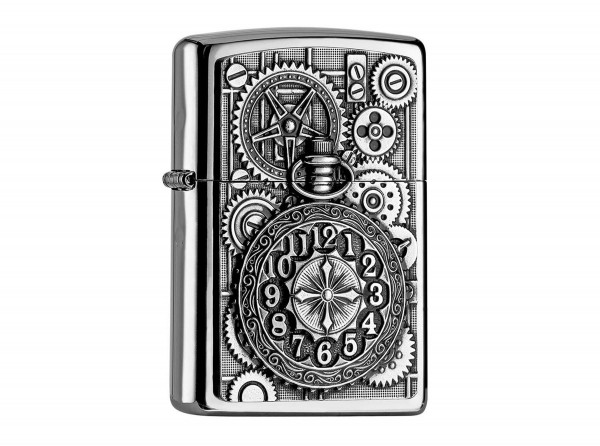 "Org.ZIPPO chrom pol. Plakette ""Pocket Watch"" 2004742"