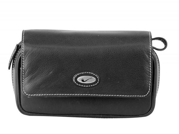 Pfeifentasche Leder schwarz mit Überschlag/Metallemblem 2er