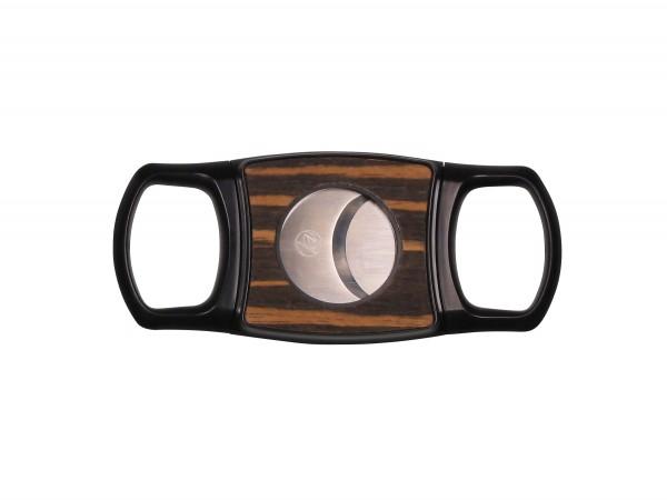 Cigarren-Abschneider Kunststoff schwarz mit Holzauflage
