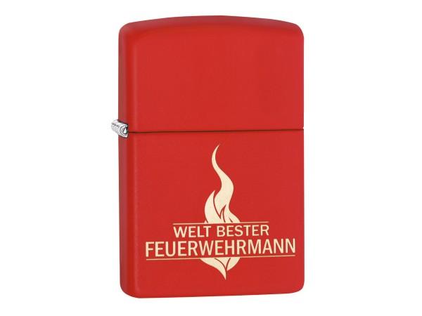 """Org.ZIPPO rot gelasert """"Welt Bester Feuerwehrmann"""" 60003818"""