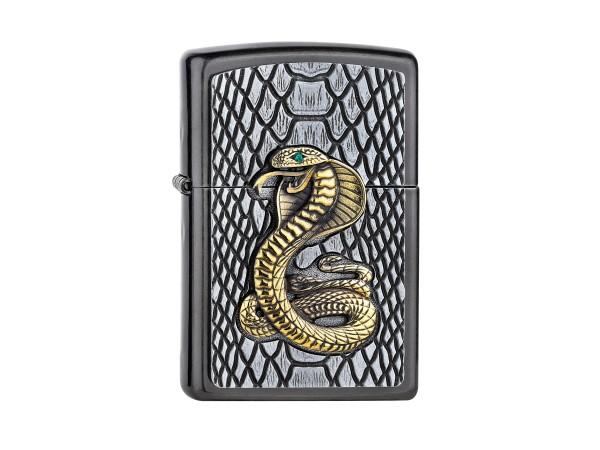 "Org.ZIPPO Grey Dusk Plakette ""Cobra gold"" 2005928"