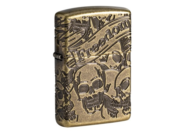 "Org.ZIPPO messing antik Armor Case ""Freedom Skull"" 60004900"