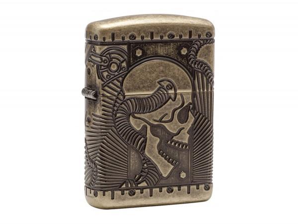 """Org.ZIPPO Antik messing Armor Case """"Skull"""" 60002848"""