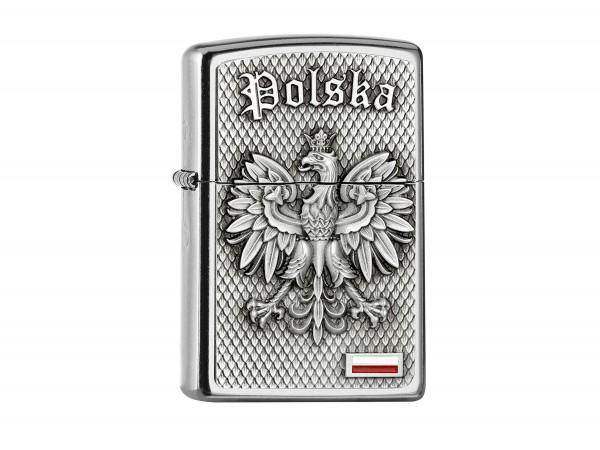 "Org.ZIPPO street chrome Plakette ""Polska"" 2005157"