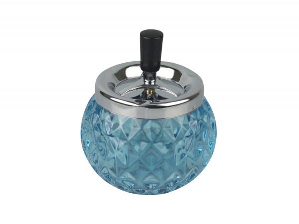 Drehascher chrom/Glas Kugel blau 12cm