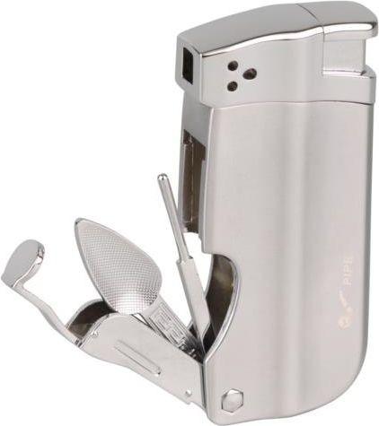 Passatore Pfeifenfeuerzeug (chrom, mit Besteck)