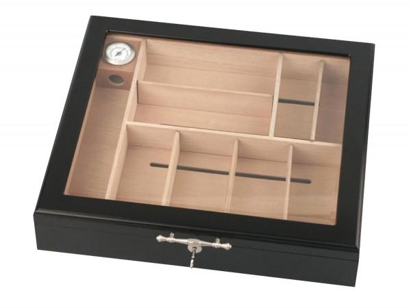 Humidor schwarz/Glasdeckel für ca. 75 Cigarren