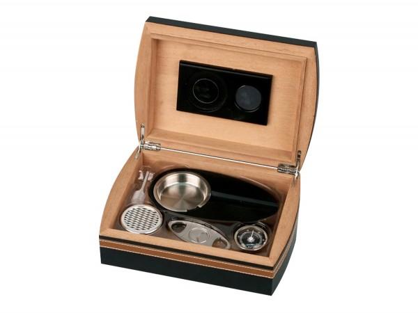 Humidor-Set schwarz/braun Lederoptik für ca.25 Cigarren