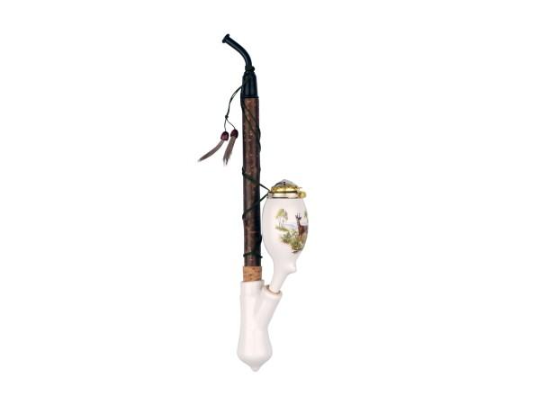 Gesteckpfeife Porzellan Jagdmotive sortiert ca. 30cm