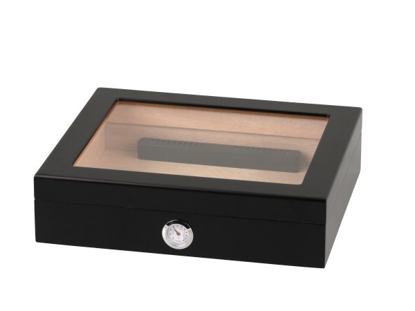 Humidor schwarz matt Glasdeckel für ca. 20 Cigarren