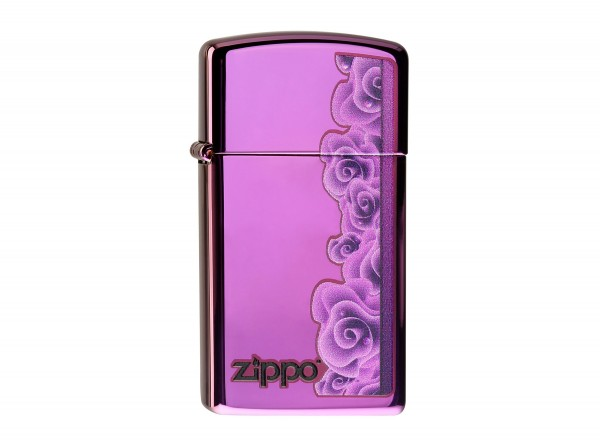 """Org.ZIPPO""""Slim"""" Abyss color """"Purple Roses"""" 60000058"""
