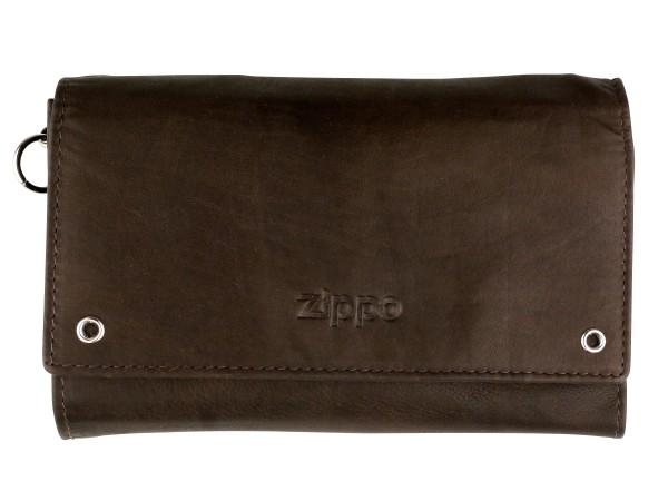 ZIPPO Biker-Geldbeutel Leder mit Kette Mocca 2005129