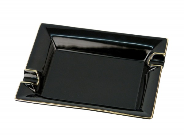 Cigarrenascher Porzellan schwarz/Goldrand 2 Ablagen