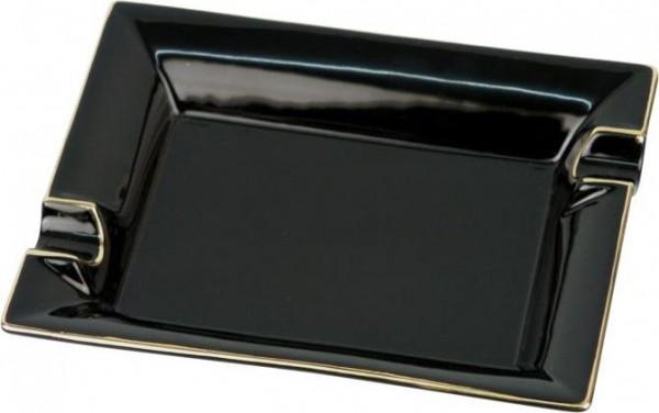 Zigarren-Aschenbecher Basic (schwarz mit Goldrand)
