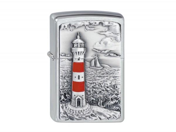 """Org.ZIPPO chrom gebürstet Plakette """"Lighthouse"""" 2001670"""
