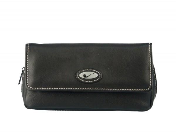 Pfeifentasche Leder schwarz mit Überschlag/Metallembem 2er