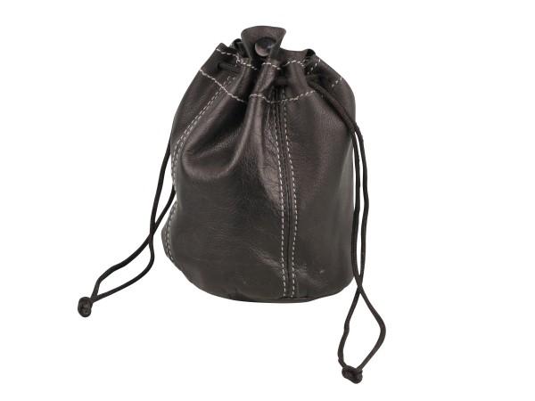 Zugbeutel Leder schwarz/Steppung mit Kautschukfutter