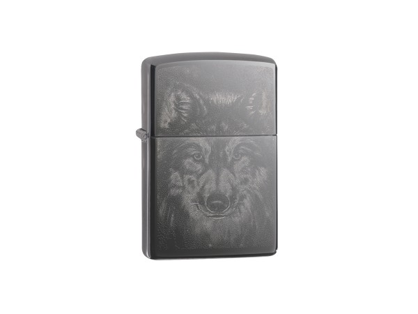 "Org.ZIPPO Black Ice Photo Image ""Wolf"" 60004546"