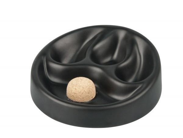 Pfeifenascher Keramik schwarz/matt mit 3 Ablagen