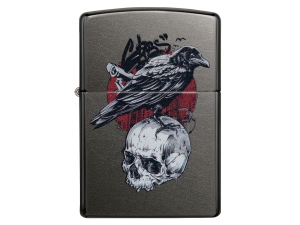 "Org.ZIPPO Grey Dusk color ""Raven and Skull"" 60004788"