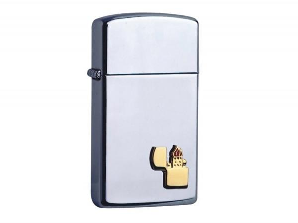 "Org.ZIPPO ""Slim"" chrom poliert mit ZIPPO-Emblem 60001342"