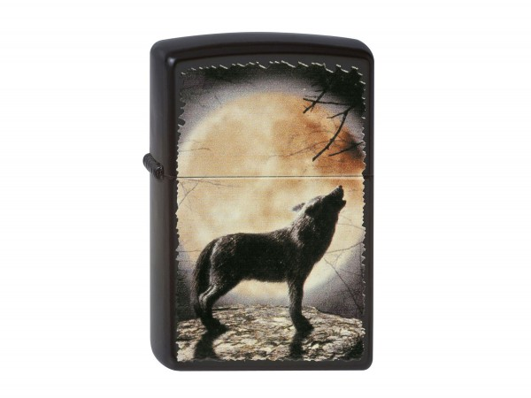 """Org.ZIPPO schwarz color """" Wolf howling..."""" 60001355"""