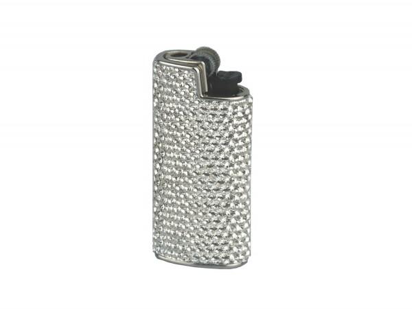 Feuerzeughülle/Mini Bic mit Swarovski Elements weiß