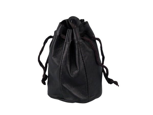 Zugbeutel Leder schwarz mit Synthetikfutter