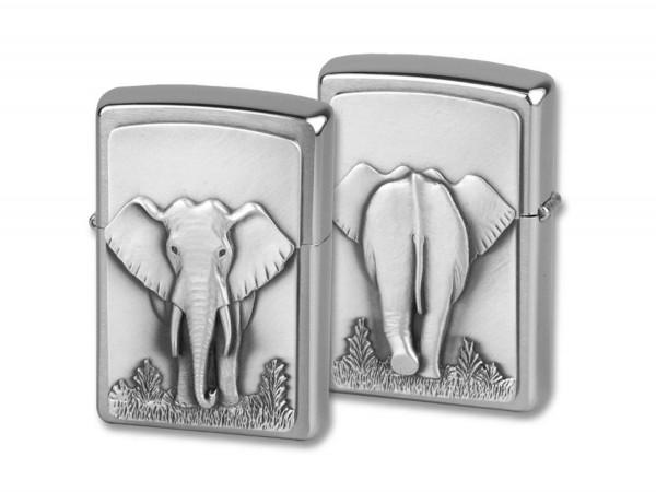 "Org.ZIPPO chrom geb. ""Elefant"" in Spiegelbox Eg"
