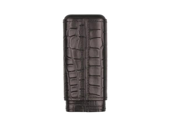 Cigarren Schiebe-Etui Leder schwarz Krokoprägung 3er