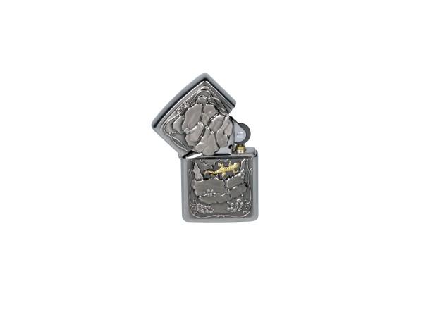 "Org.ZIPPO chrom gebürstet Emblem ""Lizard-Trick 2"" Eg"