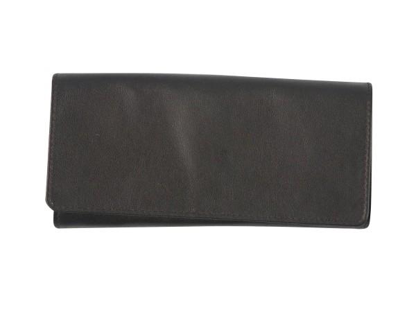 Tabak-Rollbeutel Schafnappa schwarz/Kautschukfutter 16.5cm